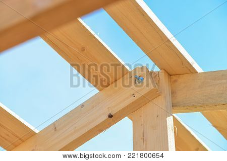 Details of construction wooden roof, roofing timber structure system