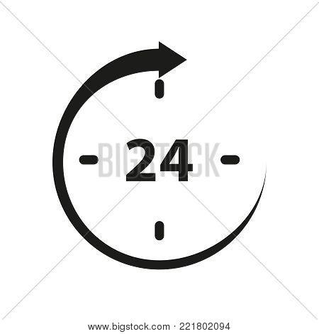 Non stop 24 icon on the white background