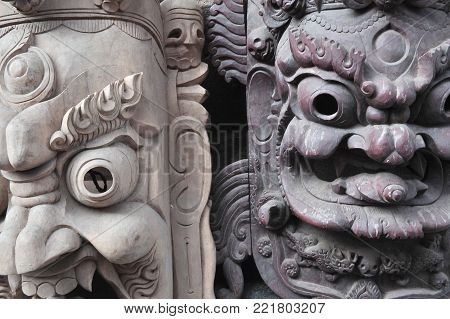 Ritual religious Indian masks made of wood, Nepal.