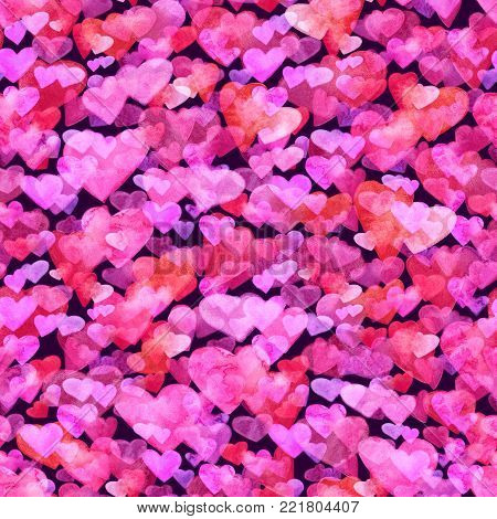 Seamless pattern with red, pink and violet watercolor hearts. romantic design. Isolated on dark background. Hand painted brush elements. Modern and teen. Love sign. Valintine Day texture. Boken lovely.