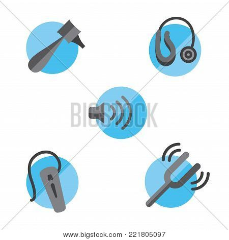 Hearing loss solid icon set with Otoscope, tuning fork / hearing aids