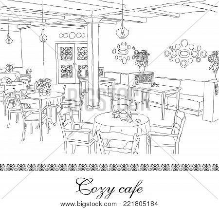 Cafe Interior - Drawn Sketch -  Vector Illustration