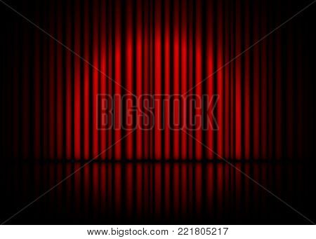 Theatrical scene with red curtains and reflection. Stock vector illustration.
