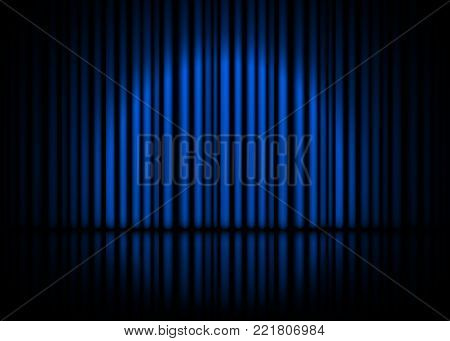 Theatrical scene with blue curtains and reflection. Stock vector illustration.