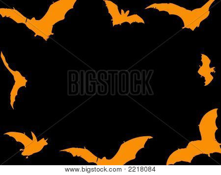 A black and orange Halloween image featuring bats poster