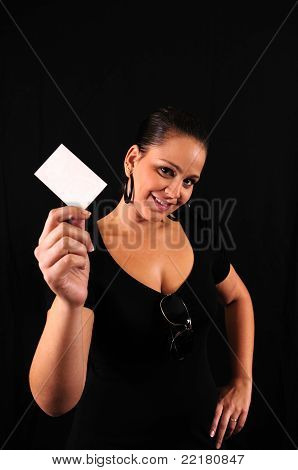 Young Woman With A Businesscard