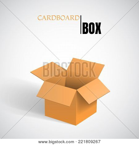 Open box, empty paper cardboard, vector container.