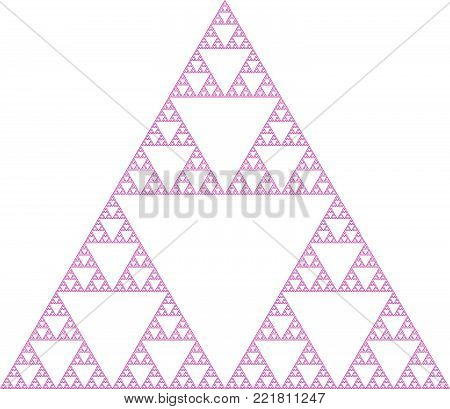 Flat Vector Computer Generated  Sierpinski's Triangle L-system Fractal - Generative Art