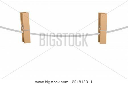 Clothes pins on a clothes line rope  - two wooden pegs holding nothing - isolated vector illustration on white background.