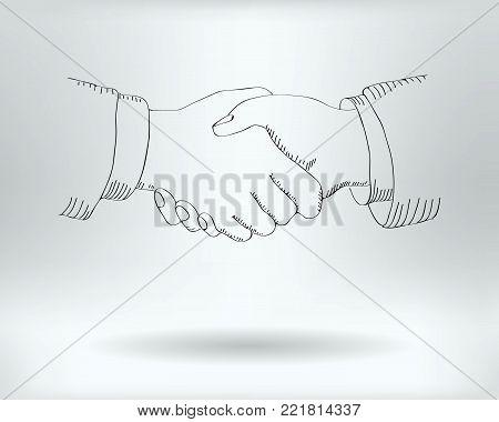 Drawing Handshake Icon  -  Handshaking  Concept -  Vector Illustration