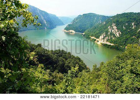 Danube valley Veliki Kazan on the Serbian-Romanian border poster