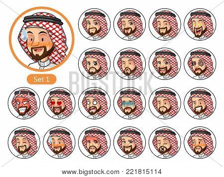 The first set of Saudi Arab man cartoon character design avatars with different facial emotions and expressions, pleased, rage, in love, ill, silent, grumpy, irritated, shy, worried, etc. vector illustration.