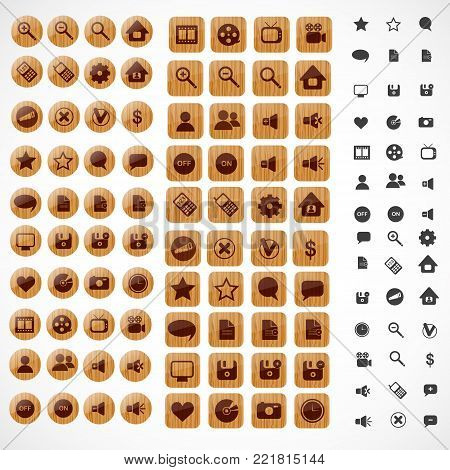 Big set of wooden web icons. Vector