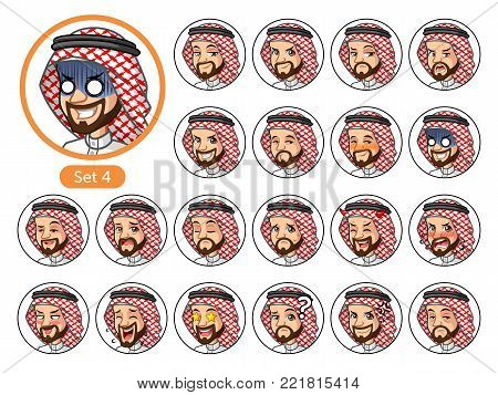 The fourth set of Saudi Arab man cartoon character design avatars with different facial emotions and expressions, happy, bored, scary, pervy, uptight, disgust, amaze, silly, mad, etc. vector illustration.