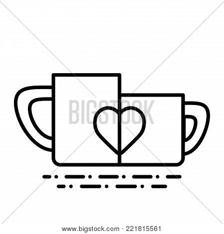 Two Cup Of Tea Or Coffee With Hearts Gift Ona Valentine Day Vector Icon