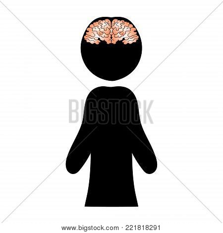 Image of a brain against a silhouette of a man. Vector illustration.