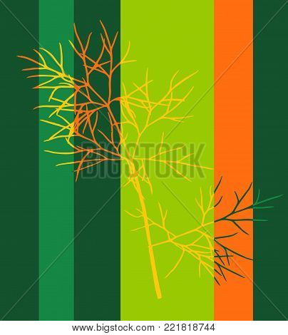 Pop Art  Style Tabby Herbarium Collage - Vector Dried Dill Leaf