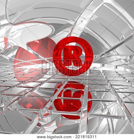 Registered trademark symbol in futuristic space - 3d illustration