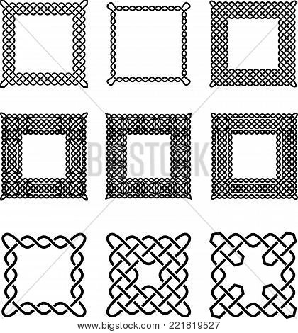Set of Celtic Frames - Vector Ancient Pagan Scandinavian Sacred Knotwork Symbols