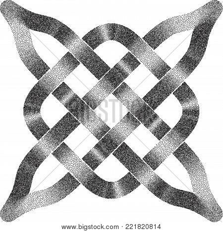 Celtic  Halftone Stippled Pattern - Vector Ancient Pagan Scandinavian Sacred Knotwork Symbol