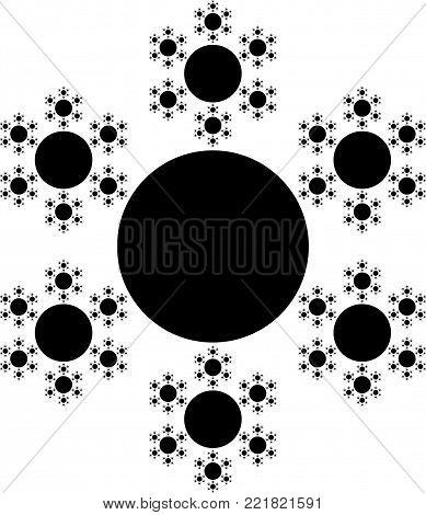 Flat Vector Computer Generated Snowflake Fractal - Generative Art