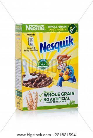 LONDON, UK - JANUARY 10, 2018: Pack of nesquik  whole grain ceral for breakfast on white background.Product of Nestle