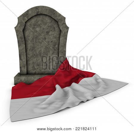 gravestone and flag of monaco - 3d rendering