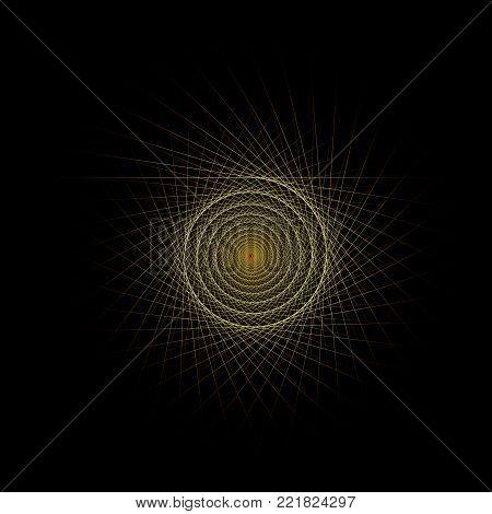 Vector Computer Generated  Helix Fractal - Generative Art
