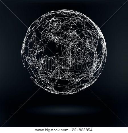 Technology Abstract Triagular Plexus  Ball - Vector Hi-Tech HUD Illustration