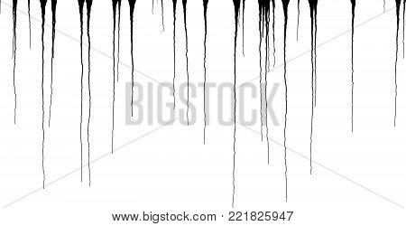 Black Ink Dripping Streaks - Vector Grunge Illustration