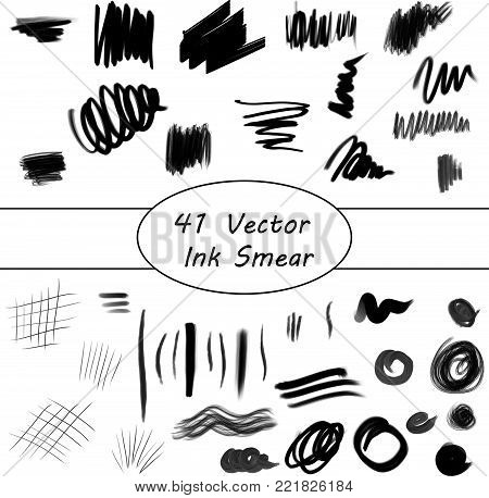 Vector Black Ink Smear Design Draw Set
