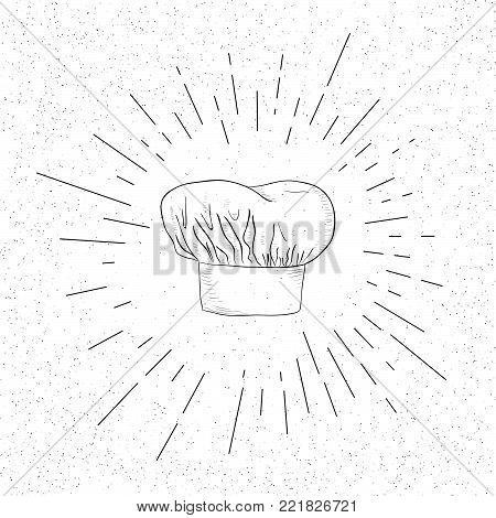 Hand Drawn Symbol of Kitchenware Chef's Cap - Doodle Vector Hatch Icon
