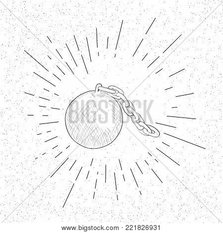 Hand Drawn Symbol of Slavery Shackles Bob  - Doodle Vector Hatch Icon poster
