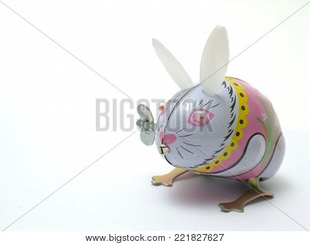 This is a Tin toy, Rabbit,isolated on white background..