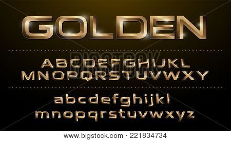 Alphabet font. Metallic, golden effect regular letters on a dark background. alphabet vector typeface glowing text effect. ABC, Gold lowercase and uppercase letters