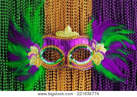 Green, gold, and purple Mardi Gras beads with mask background