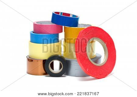 sellotape, scotch, painter  and duct tape on a white background
