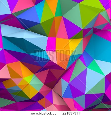 Abstract colorful low poly background in 3d