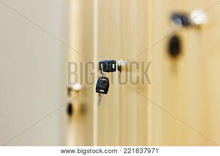 view of a wooden key locker