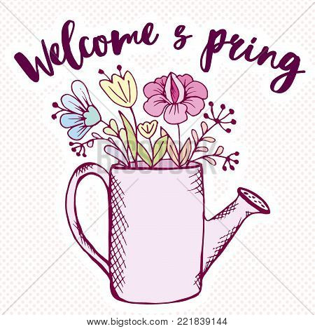 doodle garden tools and watering can with flowers inscription Welcome spring