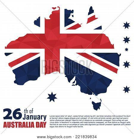 Happy Australia Day poster (banner). Flag of Australia. Map of Australia. Vector illustration.