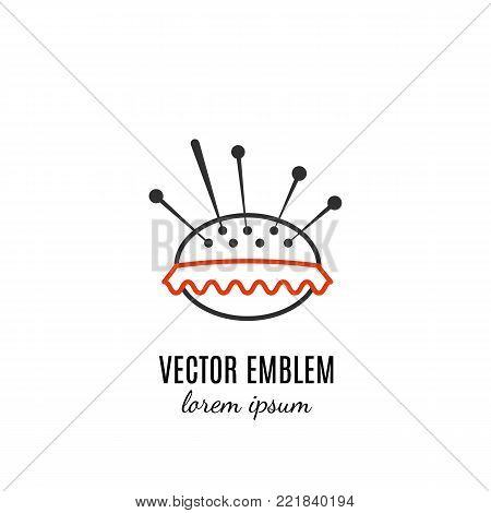 Vector hand made symbol in trendy line style isolated on white background. Pincushion. Icon in linear style.