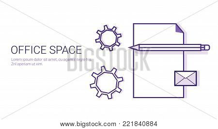 Office Space Business Concept Coworking Center Template Web Banner Vector Illustration