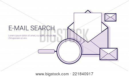 E-mail Search Business Concept Template Web Banner With Copy Space Vector Illustration