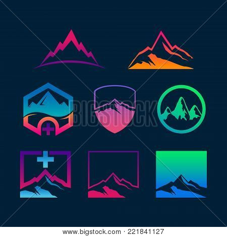 Abstract colorful mountains signs and summits icons Vector set Symbols logo design Template elements