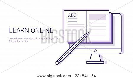 Learing Online Business Concept Elearning Education Template Web Banner With Copy Space Vector Illustration