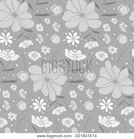 Cartoon cute sketch seamless pattern with monochrome flowers. Doodle floral texture in black, gray and white colors for textile, bedclothing, wrapping paper, wallpaper, cover, underwear