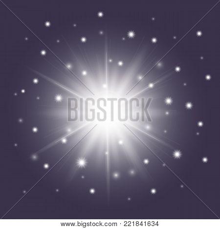 Glossy white star with sparkles. Shiny light vector sunburst symbol, cosmic stars sign isolated on dark blue background