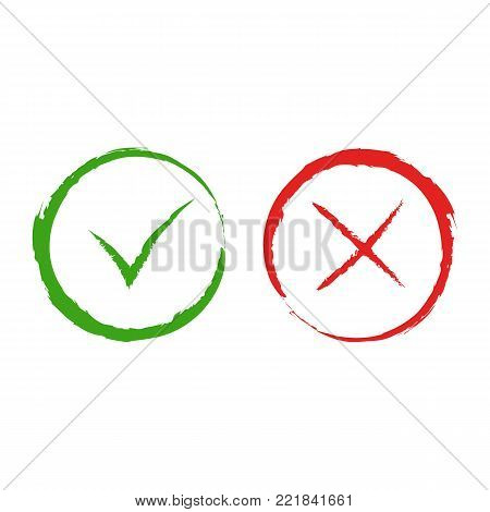 Vector green yes and red no checkmark symbols. Simple tick and cross signs in round frames, isolated on white background for vote, decision button, web design