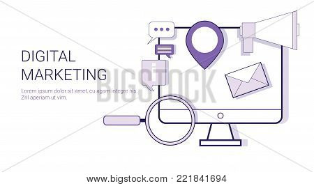 Digital Marketing Corporate Business Strategy Concept Web Banner With Copy Space Vector Illustration